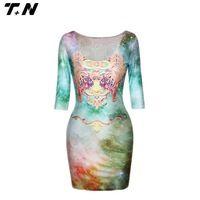 top quality 3d digital printing womens slim fit dress/skirt