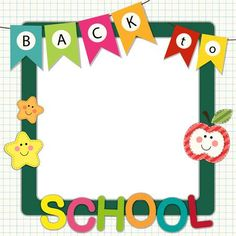 Classroom Decoration: Cute Back to School theme frame perfect for start of a new school year and classroom decor Back To School Images, First Day Of School Pictures, Back To School Art, Back To School Crafts, School Photos, Art School, School Board Decoration, Class Decoration, School Decorations