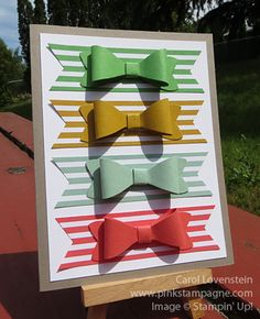 Bow Builder Punch and New 2015-17 In Colors; Great masculine card; By Carol Lovenstein www.pinkstampagne.com; Stampin' Up! Card Idea / Inspiration