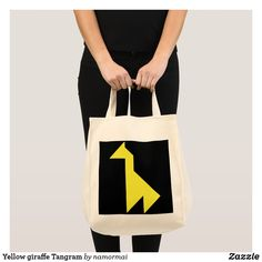Yellow giraffe Tangram Tote Bag #giraffe #YellowGiraffe #animals #tangram #ToteBag #zazzle #safari #zoo #puzzle