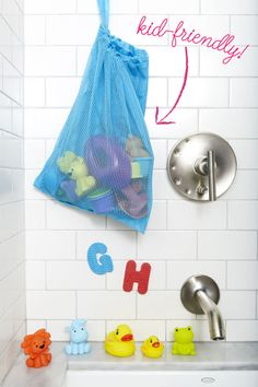 Bath Toys - Contain your kid's toy collection in a laundry lingerie bag.