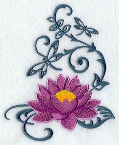 Lotus and Dragonfly Embroidered Flour Sack Hand/Dish Towel Vine Tattoos, Flower Tattoos, Body Art Tattoos, Tatoos, Dragonfly Tattoo, Lotus Tattoo, Machine Embroidery Designs, Hand Embroidery, Lotusblume Tattoo
