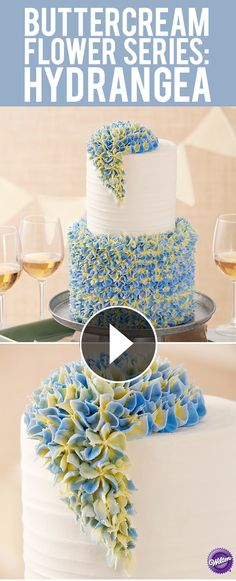 Learn how-to make the hydrangea flower in buttercream. A buttercream flower is always in style and adds beauty to any cake or cupcake (birthday cake decorating) Wilton Decorating Tips, Creative Cake Decorating, Cake Decorating Techniques, Cake Decorating Tutorials, Creative Cakes, Cookie Decorating, Decorating Cakes, Decorating Ideas, Icing Flowers