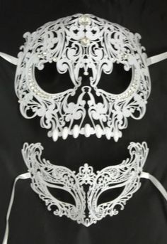 White Skull Man Woman Couples Halloween Venetian Masquerade Metal Masks Set in Clothing, Shoes & Accessories,Costumes, Reenactment, Theater,Accessories | eBay