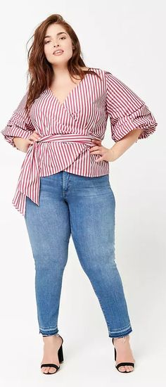 Plus Size Pinstripe Top - Plus Size Fashion for Women #plussize