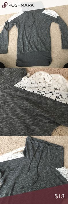 Lace lightweight cowlneck Short cowlneck. Beautiful white lace from bicep to shoulder. Drawstring around top of cowlneck. Fun gather on either side of the wide bottom. Size small. In great condition. Chance or Fate  Sweaters Cowl & Turtlenecks