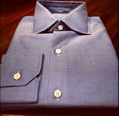 """The material is our """"Blue Luxury Screen"""" with a Curved Cutaway Collar and Mitered Cuffs. Sometimes simple is both stylish and elegant. #jhilburn #jhilburnshirt #swag #swagg #style #customshirt #fashionformen #menswear #mensstyle #mensclothing"""
