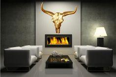Stylischer Deko Schädel MATADOR Longhorn Skull goldfarbig Metall-Aluminium Legierung poliert
