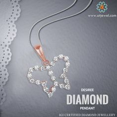 Design Of The Day.... ATJewel Beautiful Desiree Diamond Pendant In Butterfly Style Pendant. #Atjewel #Diamond #RoseGold #Pendant http://www.atjewel.com/desiree-diamond-pendant