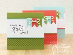 Cute cards with banner flags.  Would look great with Paper smooches sentiments.