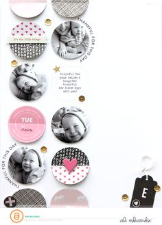 *Great and interesting way to display photos, include text & have a bit of embellishment with plenty of white space. I love the movement. I love it* PBALDWIN_JAN14_THANKFULFORTHISDAY