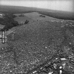 Aerial photo of Woodstock, 1969.