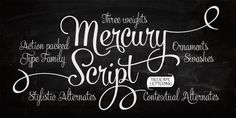 Mercury Script ...LOVE this font!  Letters, numbers and 120+ decorative graphics
