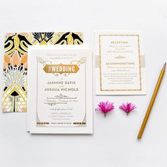 Gatsby gold foil wedding invitations par hellotenfold sur Etsy