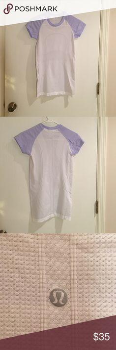 Lululemon shirt Lululemon shirt. White with lavender sleeves. Size 4 lululemon athletica Tops Tees - Short Sleeve