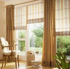 Рулонные и римские шторы из натуральных тканей