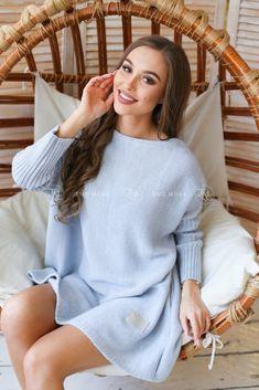 Modrý oversize sveter vo veľkosti UNI Bell Sleeves, Bell Sleeve Top, Uni, Sweaters, Tops, Dresses, Women, Fashion, Vestidos