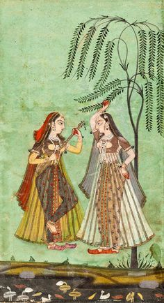 """Sarang Ragini"". Probably Deccani, Golconda or Hyderbad, circa 1700. ""A young maiden reaches up to grasp a branch of a sapling as her sakhi (confidante) plays a sarangi - a small stringed instrument.  Against a striking emerald-green background, their feet not quite touching the swath of landscape below."" Per Sotheby's, unusual iconography for this ragini."