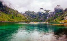 Download wallpapers Lofoten Lake, 4k, mountains, Atlantic Road, Norway, Europe