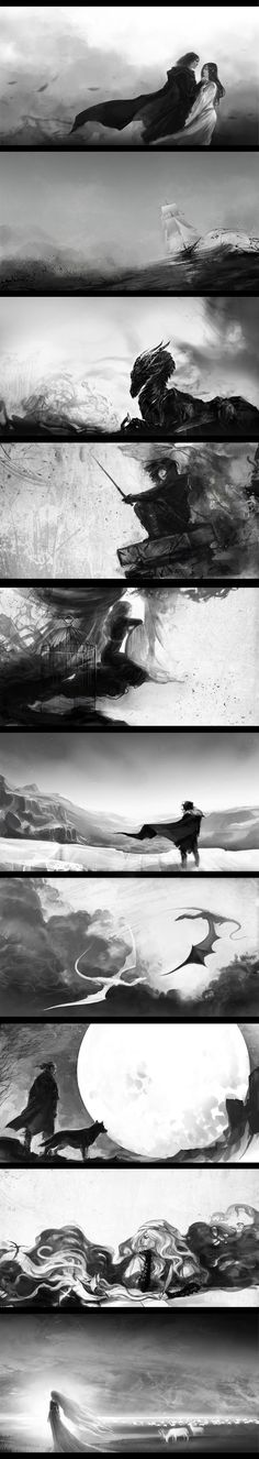 """Illustrations for inner booklet of album """"Epic"""" by Aire&Saruman (russian music band). There is songs about heroes of GoT and Robin Hobb's books./ trying to write a story where all those illustrations could fit Fantasy Inspiration, Story Inspiration, Writing Inspiration, Character Inspiration, Character Art, Illustrations, Illustration Art, Fantasy World, Fantasy Art"""