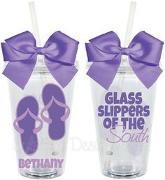 Flip Flops Glass Slippers of the South Personalized 16oz  Acrylic Tumbler.