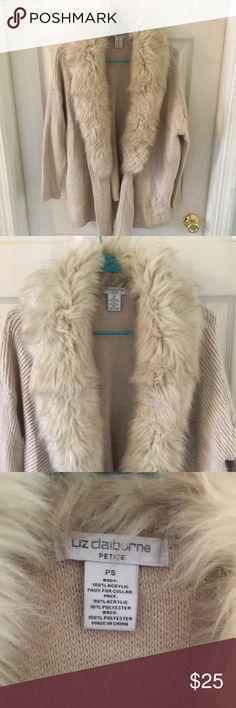 Liz Sport Faux Fur Cardigan Detachable fur collar. No damage.runs larger Liz Claiborne Sweaters Cardigans