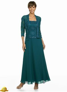 Karen Miller 6540T Chiffon Dress with Lace Jacket in Teal - Dresses with Jackets