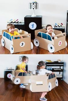 mommo design: RECYCLE AND PLAY - Cardboard race cars