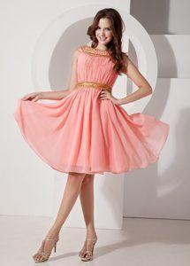 Beaded Bateau Watermelon Chiffon Knee Length Dress for Prom Queen