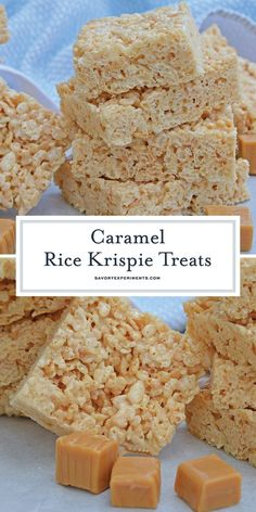 Caramel Rice Krispies Treats- Homemade Rice Krispie Bars Caramel Rice Krispie Treats are a new twist on an old favorite! These homemade Rice Krispie Treats are so good and miles better then the store bought ones! Rice Krispie Bars, Homemade Rice Krispies Treats, Rice Crispy Treats, Rice Krispie Treats Variations, Candy Recipes, Sweet Recipes, Snack Recipes, Dessert Recipes, Rice Recipes