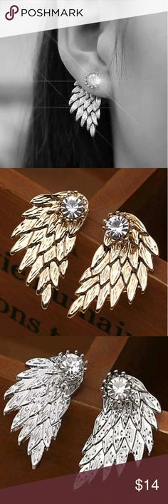 Silver or Gold Angel Wing Rhinestone Earrings Super trendy jeweled ear curtains in your choice of silver or gold  Brand new and perfect!                       Search tags ear climber ear cuff cuffs cluster clear jewels stones diamonds stud simple CZ feminine dainty classy fancy earrings studs feathers feather angel wings ear curtains Jewelry Earrings