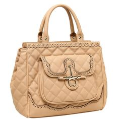 MG Collection DALEN Faux Leather Quilted Satchel Tote Executive Handbag - Beige. A must have classic handbag for women. Made of luxurious leatherette with intricate cut out designs, including studs on the bottom to protect against dirt. Spacious interior allows ample room for carrying daily necessities such as your wallet, cell phone and makeup. Exterior, satchel-style pocket ideal for storing keys, change, and other items you will need to access quickly. **Official MG Collection® product…