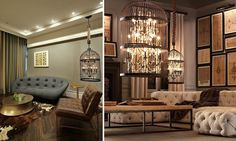 """A birdcage used as a lampshade for a chandelier is not necessarily coquettish and playful. It can go perfectly well in a strict, """"male"""" interior, toning down the pomp of baroque lamps www.iqinterior.com. #interdema #cages #decor #homedecor #homedecoration #декор #декордлядома #предметыинтерьера"""