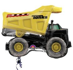 """Dig up some fun party décor with this Tonka Dump Truck Jumbo Foil Balloon! Includes 1 jumbo foil balloon that looks like a dump truck and measures 25""""""""L x 20""""""""W x 32""""""""H. Please note: balloons ship fla"""
