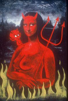 Devil Mona [Steve Stones] (Gioconda / Mona Lisa) the hidden depths of a masterpiece. Mona Friends, La Madone, Mona Lisa Parody, Mona Lisa Smile, Old Movie Posters, School Art Projects, Italian Artist, Old Movies, Dark Art