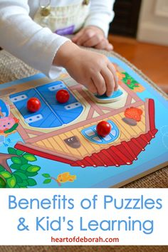 3 benefits of toddlers playing with puzzles. Children learn through play and it is so important to take time to play!