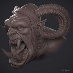 Orc WIP based off Johan grenier Early WIP first pass on textures and sculpt Only! Lots more work coming up on him! Ben Oliver, Zbrush, Sculpting, Lion Sculpture, Character Design, Creatures, Statue, Face, Artwork