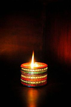 candle stand made from bangles - DIY