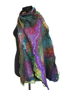 Nuno Felted Scarf Wrap  Super fine Australian merino wool, mulberry silk, silk gauze fabric, cotton gauze fabric, silk yarn.  This is so fantasy art!!!!