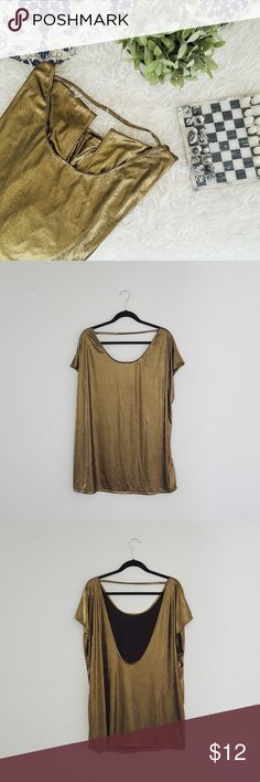 AMERICAN APPAREL metallic gold tunic Good condition, just minor wear stain on the bottom left front corner. Size is M/L. Style is oversized and loose fitting. Please let me know if you have any questions or want to make an offer 💕💕💕 American Apparel Tops Tunics