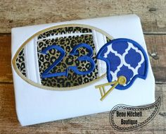 Football and Helmet Applique embroidery design