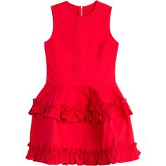 J Brand x Simone Rocha Denim Dress (28060 DZD) ❤ liked on Polyvore featuring dresses, red, denim dress, slim fit dress, round neck sleeveless dress, flutter dress and j brand