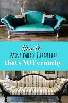 Painting Fabric Furniture is easier than you think! - - Painting fabric furniture is so much fun and way easier than reupholstering. not to mention way less expensive. You gotta try it for yourself! Painting Fabric Furniture, Paint Upholstery, Upholstered Furniture, Painted Furniture, Painting Upholstery Fabric, Repurposed Furniture, Rustic Furniture, Vintage Furniture, Furniture Design
