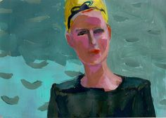My take (portrait of blond model)- original acrylic painting on vintage paper