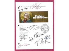 Parks and Recreation TV Script Signature Autographs Amy Poehler, Rashida Jones, Nick Offerman, Rob Lowe