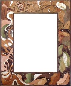 Beautiful marquetry picture frame! The design is made from different shades of inlaid wood veneers...