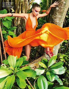 Striking a pose, Josephine Skriver models Haider Ackermann dress and Aquazzura sandals