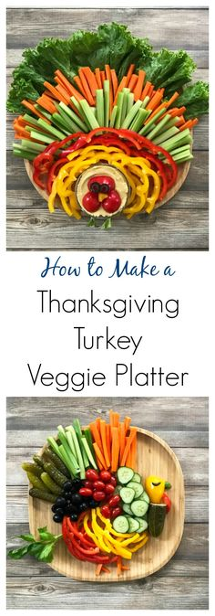 How to Make a ThanksgivingTurkey Veggie Platter - bring some fun to your Thanksgiving menu with these cute turkey veggie platters! | tastythin.com Turkey Veggie Platter, Veggie Platters, Detox Recipes, Detox Meals, Paleo Recipes, Whole Food Recipes, Easy Family Meals, Kids Meals, Easy Meals