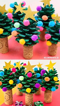 Super cute and easy holiday craft or art project the kids can make too! This Pine Cone Christmas Tree is one of the easiest and cutest holiday craft you'll ever make. Kids will love making this cute Christmas Tree craft! Pine Cone Christmas Tree, Christmas Tree Crafts, Simple Christmas, Pine Tree, Christmas Christmas, Thanksgiving Holiday, Christmas Activities For Children, Christmas Crafts For Kids To Make At School, Christmas Crafts For Preschoolers