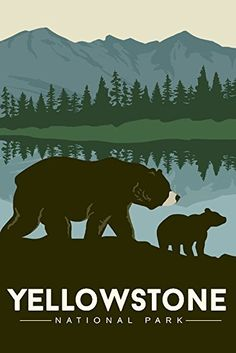 Yellowstone National Park - Grizzly Bear and Cub Travel Poster (12x18 Collectible Art Print) #affiliate